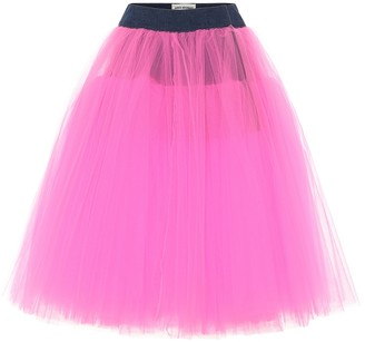 Junya Watanabe Tulle and denim skirt