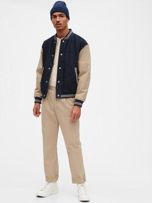 Gap Originals Denim Khaki Varsity Jacket