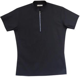 Short Sleeve Cotton Polo Shirt With Blue Zipper