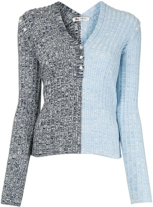 Ports 1961 colour-block v-neck knitted top