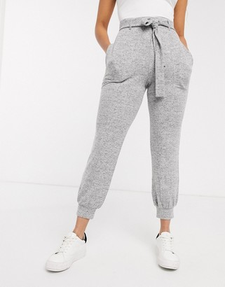 Asos Design DESIGN supersoft jogger with seam detail and tie waist-Grey