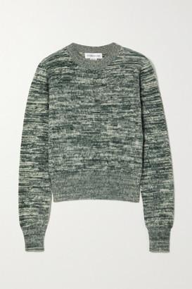 Victoria Beckham Melange Brushed-cotton Sweater - Green