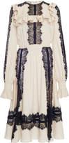 Elie Saab Crepe Georgette Lace Dress