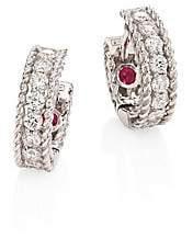Roberto Coin Women's Symphony Braided Diamond & 18K White Gold Huggie Hoop Earrings