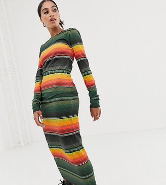 House of Holland exclusive sunset stripe long sleeve bodycon jersey dress