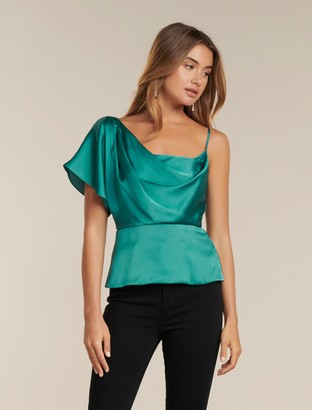 Forever New Danielle One-Shoulder Satin Top - Fortress - 14