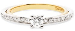 Charlotte Chesnais Fine Jewellery - Elipse Solitaire Diamond & 18kt Gold Ring - Gold