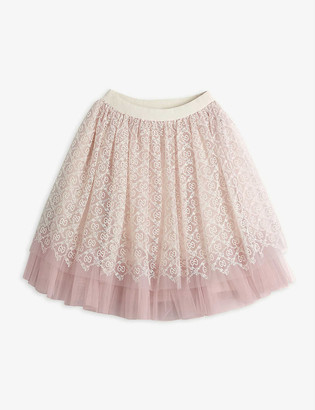 Gucci GG logo-embroidered high-waisted tulle skirt 4-12 years