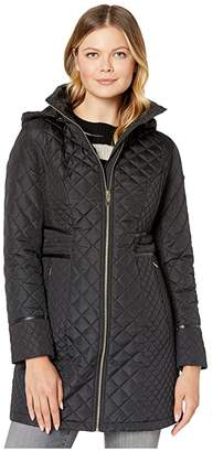 Via Spiga Mixed Diamond Quilted Coat w/ Detachable Hood