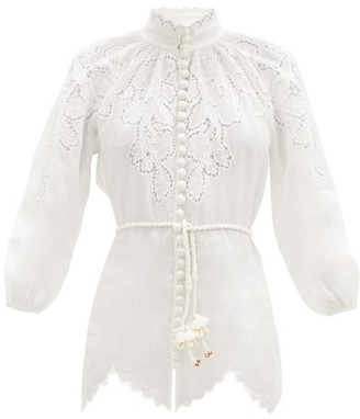 Zimmermann Carnaby Guipure Lace-panelled Top - Ivory