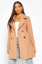 Thumbnail for your product : boohoo Double Breasted Collared Wool Look Coat