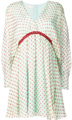 Giamba Heart Print Mini Dress