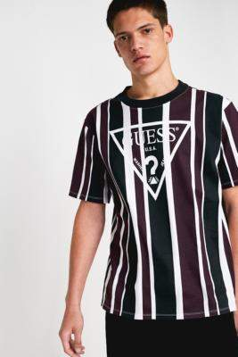 Urban Outfitters Guess Originals GUESS Originals Rexford Black Striped Short-Sleeve T-Shirt - black S at