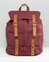 Asos Smart Canvas Backpack In Burgundy