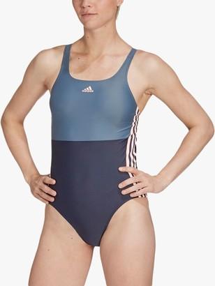 adidas SH3.RO 3-Stripes Colourblock Swimsuit, Legend Ink/Blue