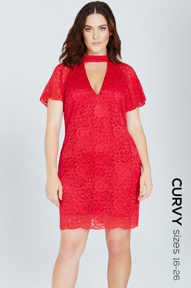 Girls On Film Red Lace Shift Dress With Keyhole