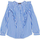 J.Crew Magnesium Ruffled Striped Cotton-poplin Shirt - Blue