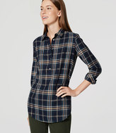 LOFT Shimmer Plaid Tunic Softened Shirt