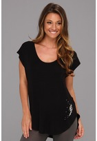 Betsey Johnson Essential Rayon Knit Sleep Tee (Black Raven) - Apparel