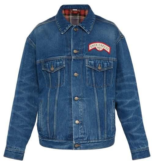 Gucci Flocked Logo Denim Jacket - Mens - Blue Multi