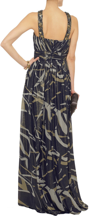 Mikael Aghal Embellished printed chiffon gown