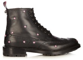 Gucci Lace-up Floral-embroidered Leather Brogue Boots
