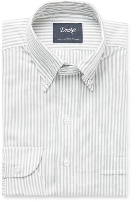 Drakes Green Button-Down Collar Striped Cotton Oxford Shirt