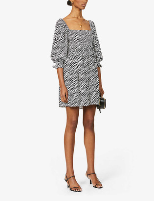 Faithfull The Brand Alina zebra-print woven mini dress