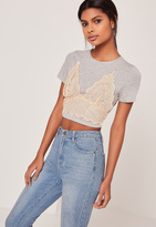 Missguided Sheer Lace Bralet Overlay Crop Grey