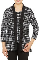 Allison Daley Petites 3/4 Sleeve Houndstooth Open Front Cardigan