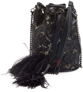 Christian Louboutin Marie Jane Dentelle Lace Bucket Bag with Feathers