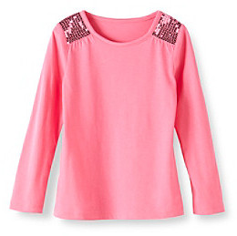 Little Miss Attitude Girls' 2T-6X Long Sleeve Sequin Shoulder Tee