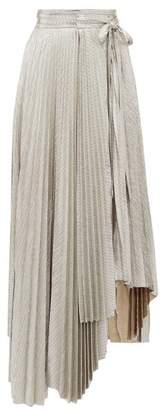 A.W.A.K.E. Mode Oyster Doric Knife-pleat Asymmetric Skirt - Womens - Silver