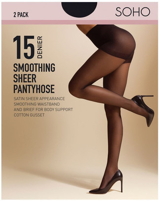 S.O.H.O New York 15D Smoothing Brief 2 Pack Pantyhose Black