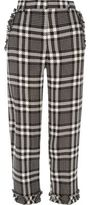 River Island Womens Black check frill hem cropped trousers