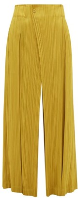 Pleats Please Issey Miyake Mannish Technical Pleated Trousers - Womens - Dark Yellow