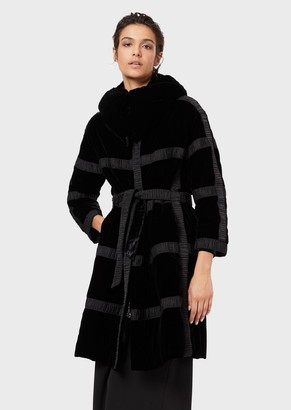 Giorgio Armani Velvet Coat With A Hood And Pleated Ribbons