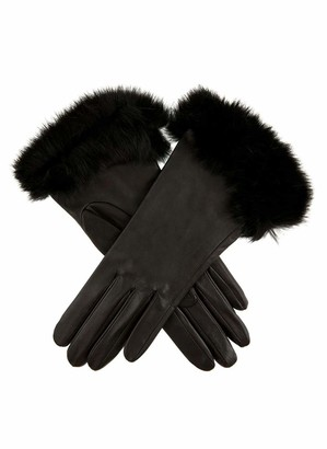 Dents Glamis Women's Silk Lined Leather Gloves with Fur Cuffs BLACK 7