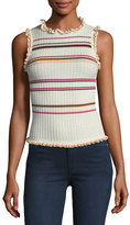 Rebecca Taylor Sleeveless Ruffled Striped Rib-Knit Tank