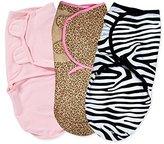 Summer Infant 3 Pack Cotton Knit Swaddleme, Pink N' Wild