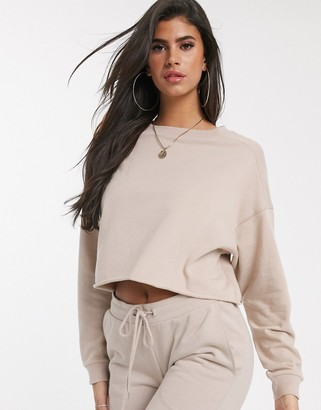 ASOS DESIGN oversized boxy sweat with stitch detail in stone