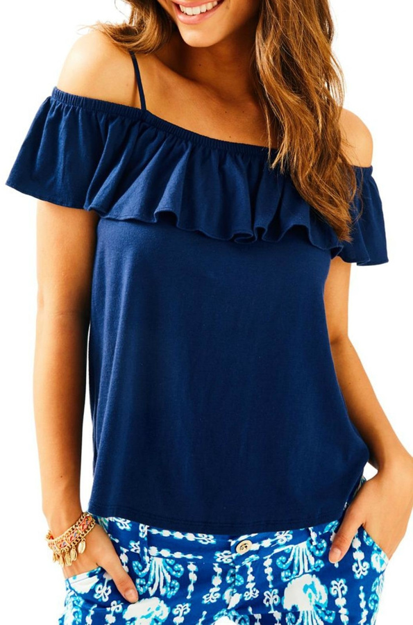 Lilly Pulitzer Off Shoulder Ruffle Tank