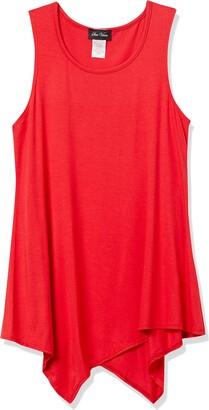 Star Vixen Women's Petite Sleevless Classic Hanky Hem Rayon/Spandex Knit Top