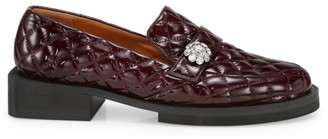 Ganni Jewel-Embellished Quilted Patent Loafers