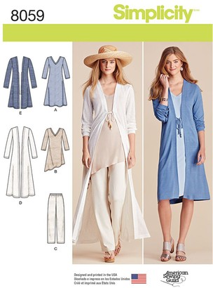 Simplicity Women's Cardigan and Dress Sewing Pattern, 8059