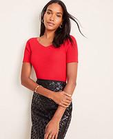 Ann Taylor Ribbed V-Neck Short Sleeve Sweater