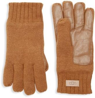 UGG Knit Leather Palm Patch Gloves