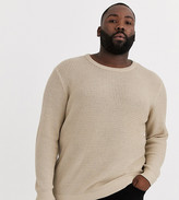Jack & Jones Originals textured crew neck knitted jumper in sand-Grey