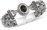Effy Eclipse by Onyx (12 x 10mm) and Diamond (1/8 ct. t.w.) Braided Bracelet in Sterling Silver with 18k Gold Accents