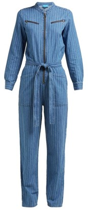 MiH Jeans Margot Pinstriped Cotton Chambray Jumpsuit - Womens - Blue Stripe
